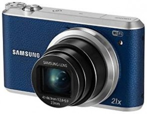Samsung WB350F 16.2MP CMOS Smart WiFi and NFC Digital Camera with 21x Optical Zoom and 3.0-inch Touchscreen LCD (Blue), 4GB Card, Camera Case