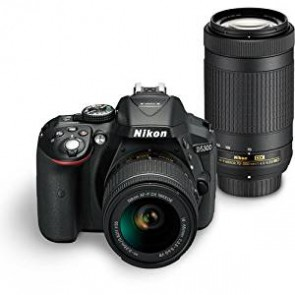 Nikon Digital Camera D5300 BK IN AF-P 18-55 & AF-P DX NIKKOR 70-300mm f/4.5-6.3G VR Kit Free Camera bag and 16GB memory card