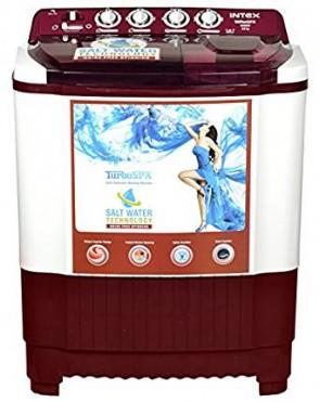 Intex 8 kg Semi-Automatic Top Loading Washing Machine (WMSA80CR, White and Cherry Red)